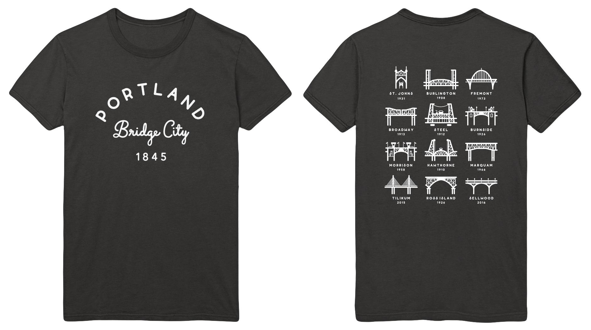 T Shirt Portland Bridges April Black