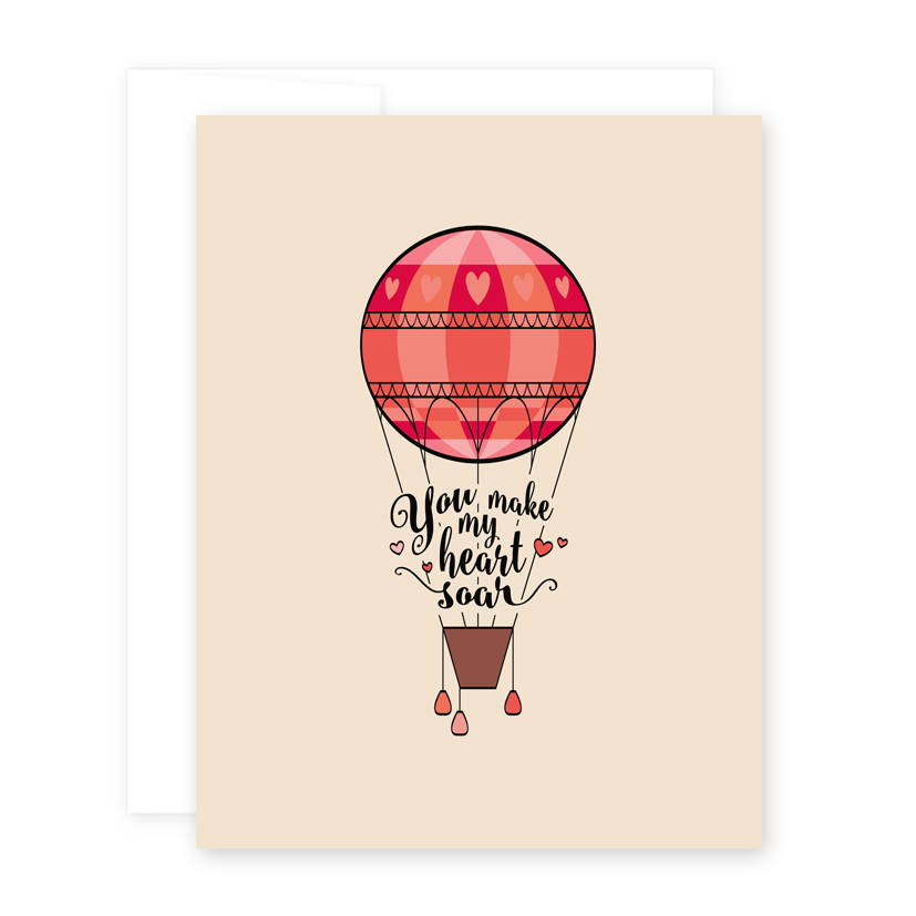 Greeting Card Hot Air Balloon April Black